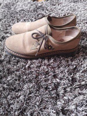 Sznurowane buty szaro-brązowy-brązowy