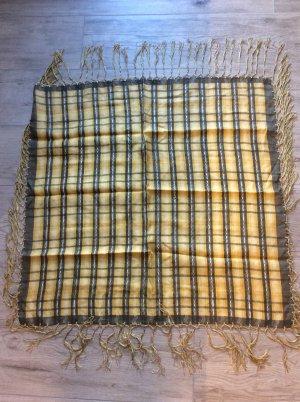 Trachtentuch gelb grau Fransen - Schultertuch -Seide