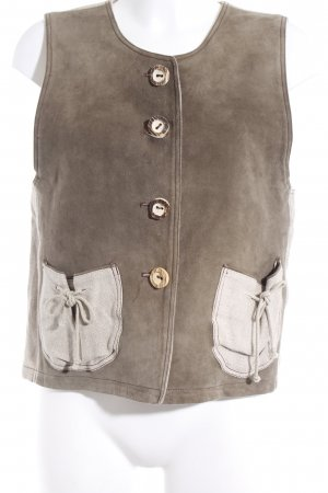 Traditional Vest olive green-oatmeal casual look
