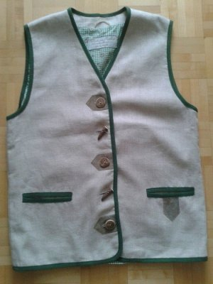 H.Moser Traditional Vest oatmeal-green grey linen