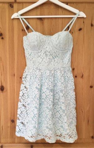 Trägerkleid aus Spitze Abercrombie & Fitch neuwertiger Zustand mint hellblau pastell Spitzenkleid S