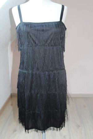 Trägerkleid Fransen sexy Partykleid schwarz 20-iger Jahre Look neu Gr. 40