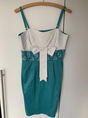 Trägerkleid in Blau / Türkis Weiß mit Schleife