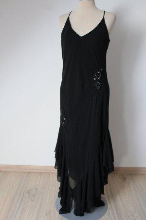 Trägerkleid Lagenlook schwarz bestickt neu Zipfelkleid Gr. 36