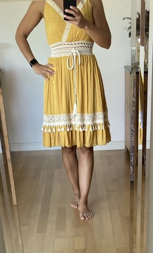 Effeny Sukienka boho kremowy-złotopomarańczowy