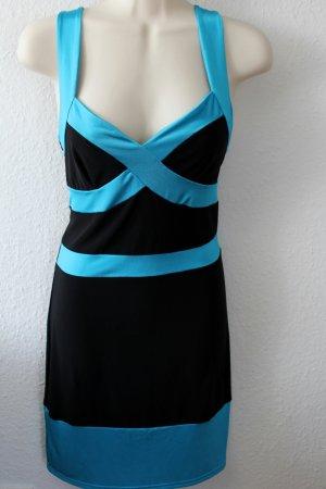 Trägerkleid, schwarz/türkis