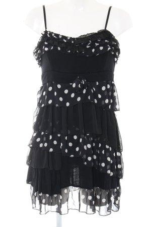 Trägerkleid schwarz-weiß Punktemuster Party-Look