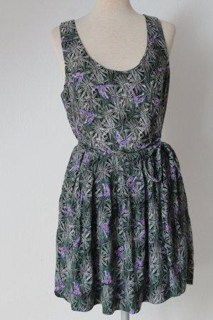 Trägerkleid Skaterkleid Sommerkleid schwarz Papageien Gr. 42 L