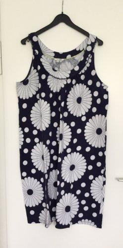 Boden Robe à bretelles bleu foncé-blanc coton
