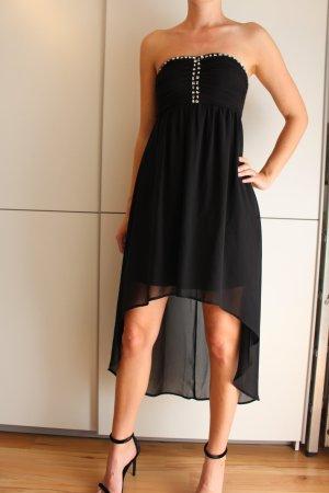 Trägerloses Abendkleid in Schwarz mit Schmucksteinen