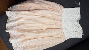H&M Vestido corsage blanco-albaricoque Algodón