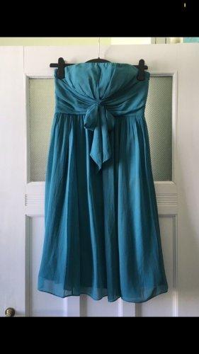 Trägerloses Kleid aus Seide türkis petrol blau Un Deux Trois Größe 36
