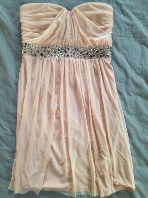 Trägerloses Kleid mit Perlen