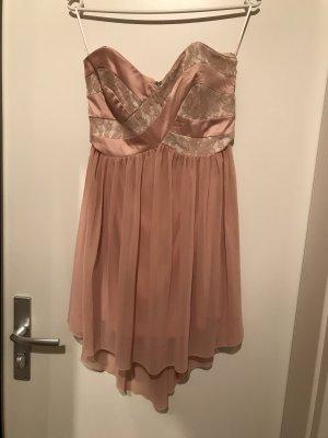 Trägerloses Kleid rosa Spitze von Amisu, Größe 36