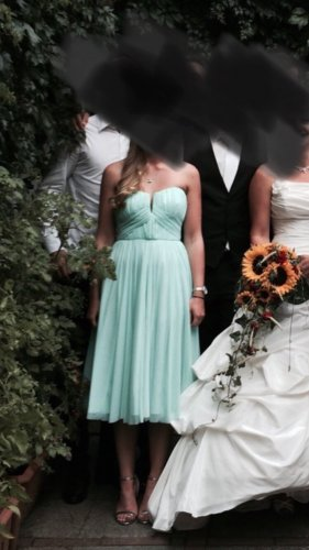 Trägerloses Kleid Türkis