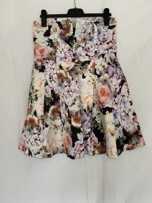Trägerloses Minikleid mit Blumenmuster