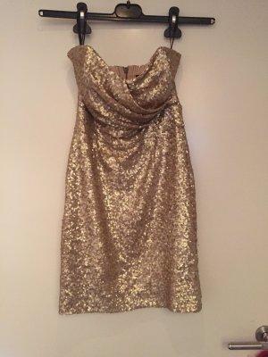 Trägerloses Paillettenkleid Partykleid Silvester gold