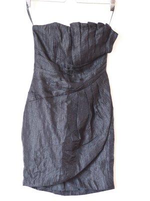 trägerloses, schwarzes Cocktailkleid mit Plissee, 34/ XS, H&M, wie neu, Bandeau