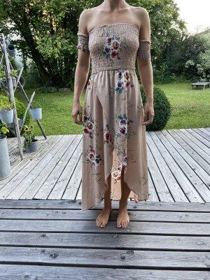 trägerloses Sommerkleid mit Blümchen