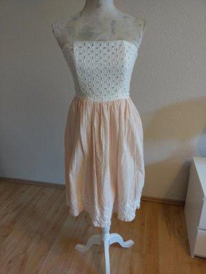 trägerloses Sommerkleid, weiß/altrosa
