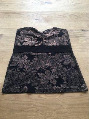 Melrose Top z dekoltem typu bandeau czarny-brąz