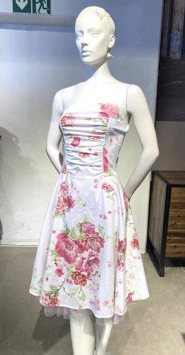 Trägerloses weiß-rosa Petticoatkleid von Ruby Rox