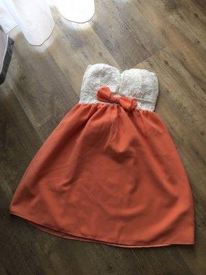 Bandeau Dress white-apricot
