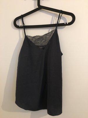 H&M Silk Top dark grey
