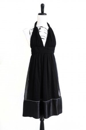 TRAFFIC PEOPLE Neckholder Chiffon Tüll Kleid Boohoo black
