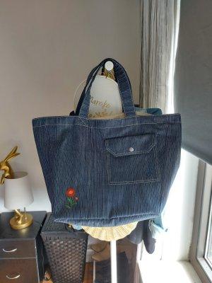 Uniqlo Torba shopper niebieski Bawełna
