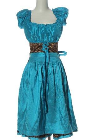 Tramontana Vestido Dirndl turquesa-marrón estampado de leopardo estilo clásico