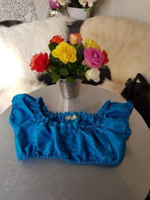 TRAMONTANA Dirndl Bluse Gr. 38 blau Satinstoff glänzend