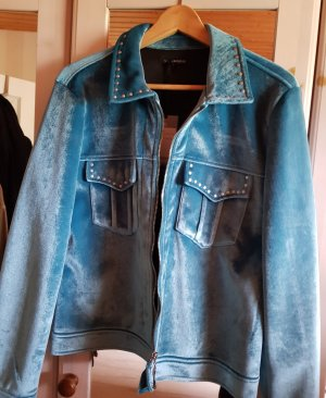 Tramontana Jacke Jeans Boho Hippie Style Blouson Türkis Samt Neu d.g