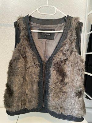 Tramontana Fur vest taupe-black