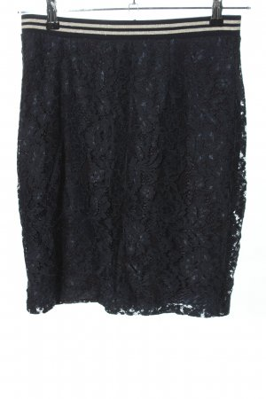 Tramontana Lace Skirt black-white striped pattern casual look