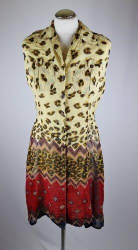 Transparent Kleid Minikleid Rene Derhy Größe M 36 38 Hemdblusenkleid Viskose Leo Muster Krepp Chiffon Braun Beige Rot
