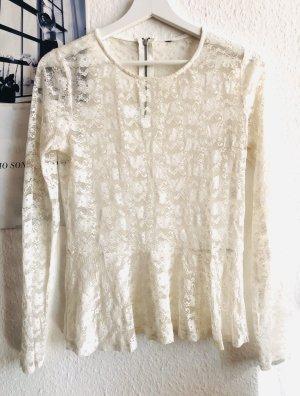 H&M Top maillé blanc cassé-blanc