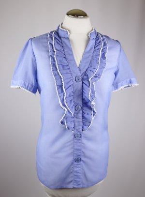 Transparent Rüschenbluse Bluse Vila Größe XS 34 Hellblau Weiß Blau Sabot Kurzarmbluse Smoking V - Neck