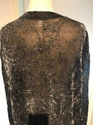transparent (silber) schimmernde Bluse / Cadigan