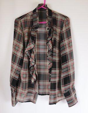 Transparent Stehkragen Zart Bluse Größe M 38 Karo Kariert Schwarz Grau Rot Rüschen Sabot Hemd Chiffon