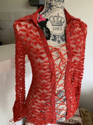 Transparante blouse rood-zilver