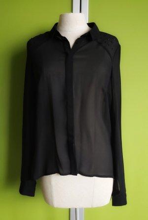 Transparente Bluse in schwarz mit Steinchen