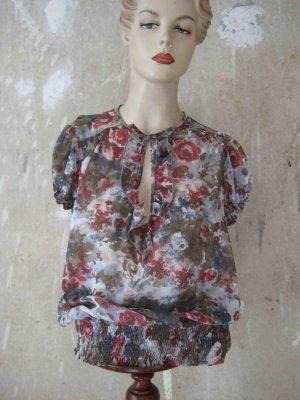 transparente Bluse mit Blumenmuster - casual Look