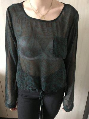 Transparente Bluse mit Kordelzugbund
