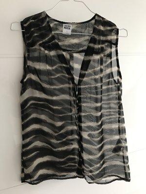 Transparente Bluse mit kurzem Arm und Animalprint
