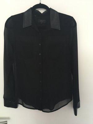 Transparente Bluse mit Lederapplikation