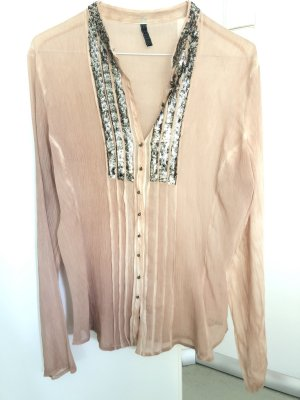 Guess Blusa estilo Crash nude-color plata