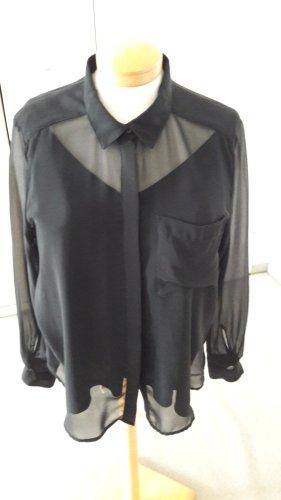 Transparente Bluse mit SamtTop Gr. 46 neu