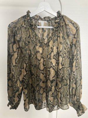 Transparente Bluse mit Schlangenmuster und Schleife H&M