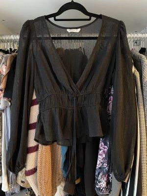 Transparente Bluse mit Schnürung in der Taille